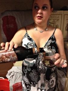 My vixen pouring Sam Adams' The Vixen.