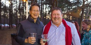 Oscar Wong, founder and owner of Highland Brewing Company with your's truly, The Jax Beer Guy.